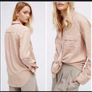 Free People Tan/Gold Detail Chambray Top,